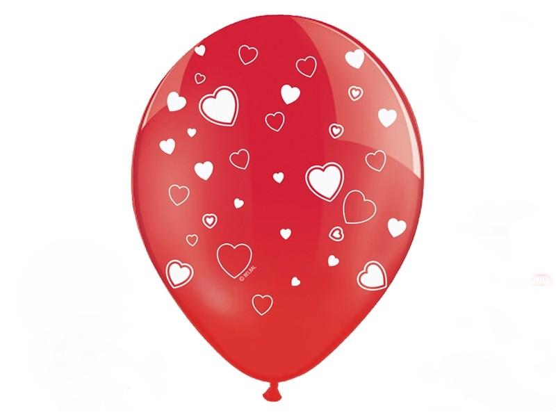 Balónek srdíčka červený 30 cm, 5 ks